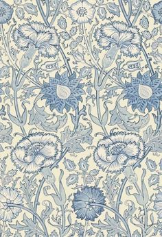 Pink & Rose (212567) - Morris Wallpapers - A large stylised design of intertwining stems of flowering carnations and roses, inspired by the 1890 original. Shown in the shades of blue  colourway.  Please request sample for true colour match.