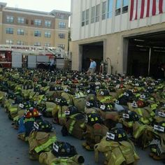 Gear of the fallen firefighters (brothers and sisters) of 9/11/2001. #343neverforgotten