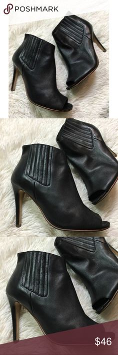 Halogen 8.5 Black Leather Boots Booties Peep Toe Halogen 8.5 Black Leather Boots Booties Peep Toe Stiletto Pull On Nordstrom Heel height is 4.5 inches Halogen Shoes Ankle Boots & Booties