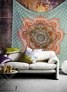 Amazon.com: Popular Handicrafts Ombre Hippie Mandala Bohemian Psychedelic Intricate Floral Design Indian Bedspread Magical Thinking Tapestry 84x90 Inches,(215x230cms) Orrange: Kitchen & Dining