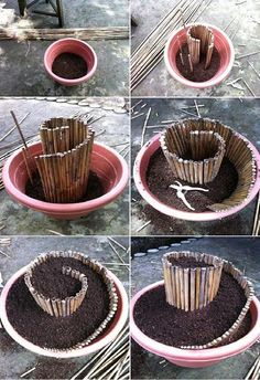 Herb spiral on a small scale - An interesting way to add depth and character to a container garden! via World in Green
