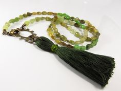 Green Tassel Necklace Green Necklace Cog Necklace by ksyardbird