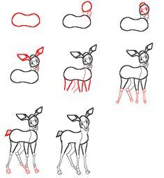 how to draw a baby deer, baby deer step 4 | Mugs | Pinterest ...