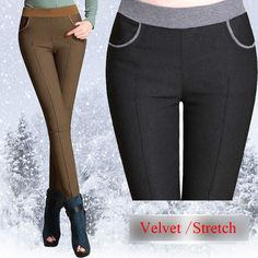 {Guoran} winter women stretch casual cotton pants Plus size 4XL thick fleece ladies patchwork black pencil pants elastic waist >>> Click on the image for additional details.