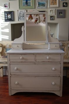 Vintage Mirrored Dresser hand painted and distressed in F, Old White...