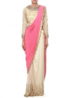 Pink and beige saree gown enhanced in kardana embroidery only on Kalki