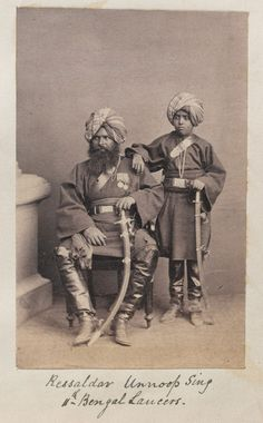 Rissaldar Unoop Singh, 11th Bengal Lancers, 1860s (c)From an album previously owned by General Sir Sam Browne VC, 1857-1870