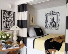 In designer Stephen Shubel's California cottage, Mann-O-Print curtains frame the guest room's shipshape berth with built-in drawers.