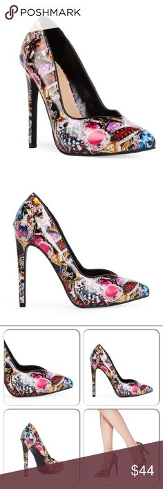 The KeelieGraphic Gems StilettoCelebChic Glam things up with Keelee, a jewel printed pump that's ready for a night out. It features a pointed toe, black piping and a high stiletto heel. Faux leather. JustFab Shoes Heels