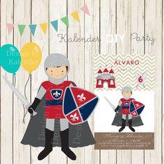 Medieval knight DIY Happy Birthday Invitation. Invitación Fiesta de cumpleaños Caballero Medieval.