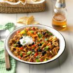 Beefy Taco Dip - - This taco dip is actually a combination of several different recipes I received from friends. I just experimented until I came up with my favorite. It's always a hit, no matter where I take it. Ground Beef Taco Dip, Beef Dip, Best Taco Dip Recipe, Bean Dip Recipes, Goat Cheese Recipes, Cheese Dips, Cooking Recipes, Pie Recipes, Appetizer Recipes