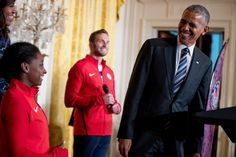 <p>President Barack Obama, accompanied by first lady Michelle Obama, and Paralympic Closing Ceremony flag bearer Army veteran Josh Brunais, center, smiles at US Olympics gymnast Simone Biles during a ceremony in the East Room of the White House in Washington, Thursday, Sept. 29, 2016, where the president honored members of the 2016 United States Summer Olympic and Paralympic Teams. (AP Photo/Andrew Harnik)</p>