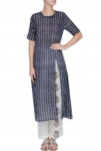 Blue and White Striped Straight Cut Kurta With Off White Narrow Pants