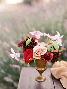 Garden Inspiration by Leah Kua, Lavender & Twine, Elan Klein. Love the Colors! Pale pink, red, dark red, and a gold vase.
