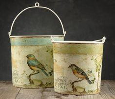 "Bird Buckets Set of Two Oval Buckets (8"" & 7"") $24. NEED!"