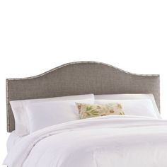 guest bedroom headboard idea?  pewter color with silver nailhead detail would go nicely with mercury glass accents---Skyline Furniture Nail Button Groupie Upholstered Headboard | Wayfair