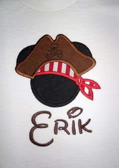 Mickey Mouse Pirate applique t shirt  - Personalized in Disney font your choice of colors  boy or girl. $20.00, via Etsy.