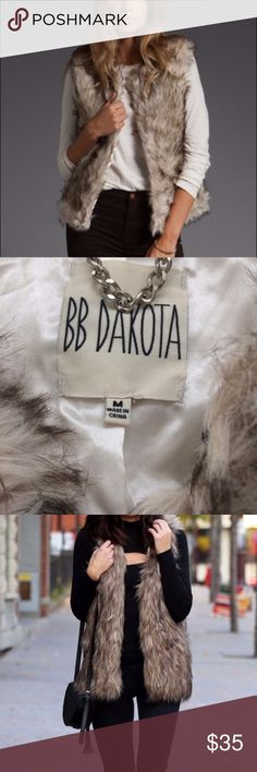 "BB DAKOTA Garret Faux Fur vest M BB DAKOTA Faux Fur vest Medium, inside lining and small closure. Very warm and comfortable! Smoke-free home, just washed. 22"" length. BB Dakota Jackets & Coats Vests"