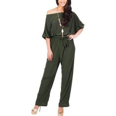 Yoins Army Green One Shoulder Self-tied Maxi Jumpsuits ($29) ❤ liked on Polyvore featuring jumpsuits, army green, strappy jumpsuit, jump suit, military green jumpsuit, olive green jumpsuit and army green jumpsuit