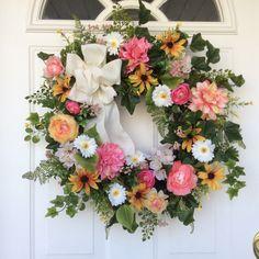Summer Wreath-Spring Door Wreath-Mother's Day Gift-Wedding Decor-Summer Wreaths-Cottage Chic Wreath-Designer Wreath-Regina's Garden by ReginasGarden on Etsy https://www.etsy.com/listing/291577335/summer-wreath-spring-door-wreath-mothers