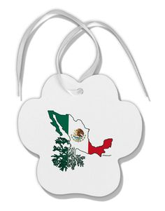 Mexican Roots - Mexico Outline Mexican Flag Paw Print Shaped Ornament by TooLoud
