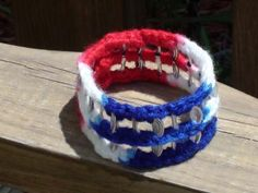 Red, White & Blue Crocheted Pop Tab Bangle by PopTabilicious for $8.00