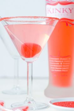 Kinky Blow Pop Martini with a Valentine's Day twist! recipe via www.thenovicechefblog.com