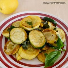Sauteed Zucchini and Yellow Squash with Lemon and Basil - low carb side dish recipe