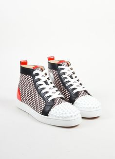 "Men's Christian Louboutin Black, White, and Red ""Lou Spike"" Hi Top Sneakers"