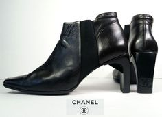 $1195 CHANEL BOOTS 40 DARK BROWN Leather Ankle Boots *LOVELY* Womens 9.5 #CHANEL #AnkleBoots