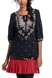 Stitched Medallions Peasant Top