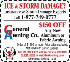 $150 OFF Any New Awning @ General Awning Co. CouponsCoupon
