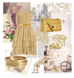 """Золотые пески"" by sarahguo ❤ liked on Polyvore featuring Kim Seybert, Chronicle Books, Cartier, Robert Rodriguez, Jimmy Choo, Milly, Jigsaw and LK Designs"