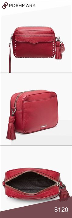 "Rebecca Minkoff Bryn Camera Bag in Red 8.5""W x 6.5""H x 3""D 100% Leather 18.5"" adjustable and removable shoulder strap 1 back exterior slip pocket 2 interior card pockets 1 interior slip pocket Silver hardware Biker stud detail Exclusive lining Imported Bags Crossbody Bags"