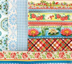 Vintage Shelf and Wall Paper Blue Collection by lisacook on Etsy, $10.00