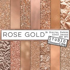 Rose Gold Foil and Glitter Textures  Rose Gold por StudioDenmark