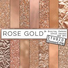 Rose Gold Foil and Glitter Textures  Rose Gold por StudioDenmark