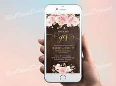 She said yes electronic engagement party invitation with String Lights, Pretty Pink Rose Save the Date electronic invite, Country Wedding Electronic Invitations, Digital Invitations, Floral Baby Shower, Baby Boy Shower, Rustic Save The Dates, Portraits From Photos, Engagement Party Invitations, Party Lights, String Lights