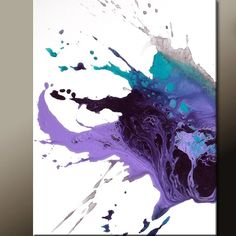 20 Easy Abstract Painting Ideas Use a hairdryer on wet paint (watered down?) to create this interesting effect!