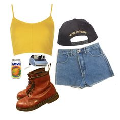 """""""sunshine"""" by gothic-unicorn ❤ liked on Polyvore featuring Topshop, Dr. Martens, Polaroid, women's clothing, women's fashion, women, female, woman, misses and juniors"""