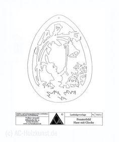 Template finestra Coniglietto di Pasqua con campana Snowflakes, Origami, Xmas, Woodworking, Wood Work, Wood, Paper, Jewelery, Sun Painting