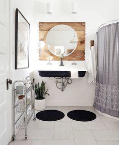 Black Bathroom Sink, Lake Bathroom, Modern Bathroom, Small Bathroom, Bathroom Lighting, Bathroom Ideas, Bathroom Design Inspiration, Scandinavian Bathroom, Maine House
