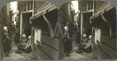 stereokaart Marken smalle straat met kinderen 1910