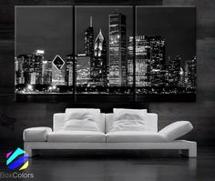 """LARGE 30""""x 60"""" 3 Panels Art Canvas Print Beautiful Chicago skyline at night light buildings Wall Home (Included framed 1.5"""" depth)"""