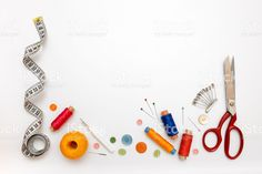 Copyspace Frame With Sewing Tools And Accesories Stock Photo, Picture And Royalty Free Image. Sewing Art, Sewing Tools, Free Sewing, Sewing Patterns, Whats Wallpaper, Banner Printing, Learn To Sew, Buttonholes, Clipart