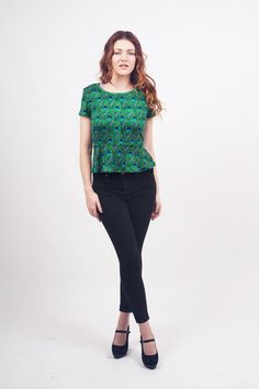 Peacock Feather Print Stretch Peplum Top by xiaolindesign on Etsy
