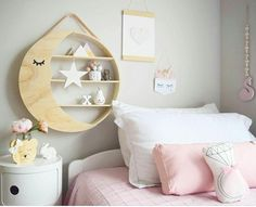 12 of the best-ever Kmart hacks for kids. Simple Kmart wall shelf turned into a stylish moon shelf with a simple piece of ply wood and sleepy eye painted on Home Design, Interior Design, Australian Style, Pantone, Kids Bedroom, Bedroom Decor, Kids Rooms, Kmart Decor, Round Shelf