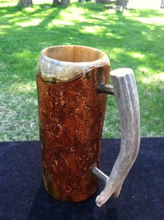 Wooden beer mug, beer stein, SCA tankard, medieval mug, wooden mug by SilverOakFurniture on Etsy