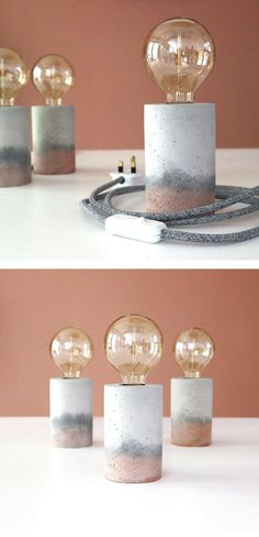 Beautiful colored concrete table lamp. Would make a nice accent in my teenage girls room. #concrete #cement #lamp #tablelamp #homedecor #commissionlink