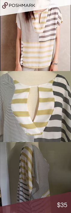 Anthropologie One September Top Gray, yellow and cream striped  top from One September for Anthropologie. Gently used condition. 100% polyester.  Machine wash cold, dry flat. No trades. Anthropologie Tops Blouses